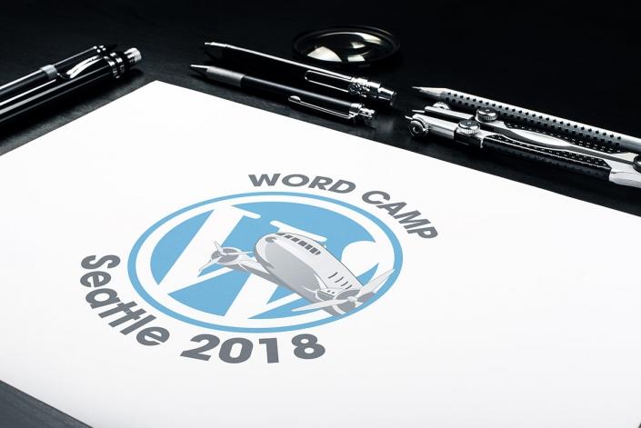 WordCamp Seattle 2018 event logo mockup
