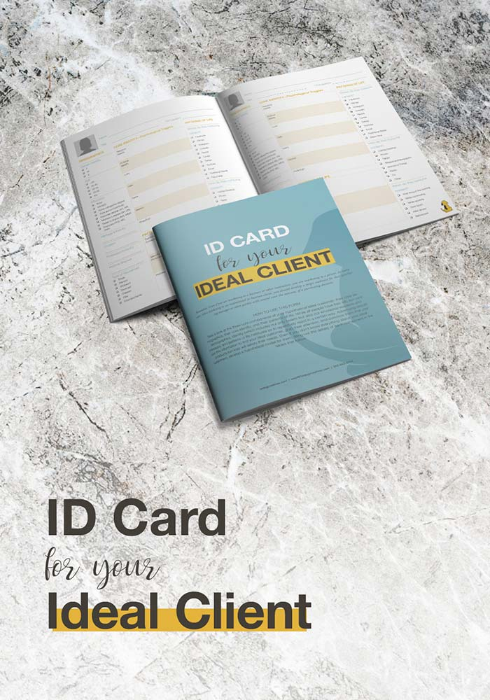 Client ID Card, ideal client avatar form graphic